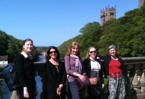 Members of the WiGS committee and local organiser, Cat Moir (Durham University), with Durham Cathedral in the background