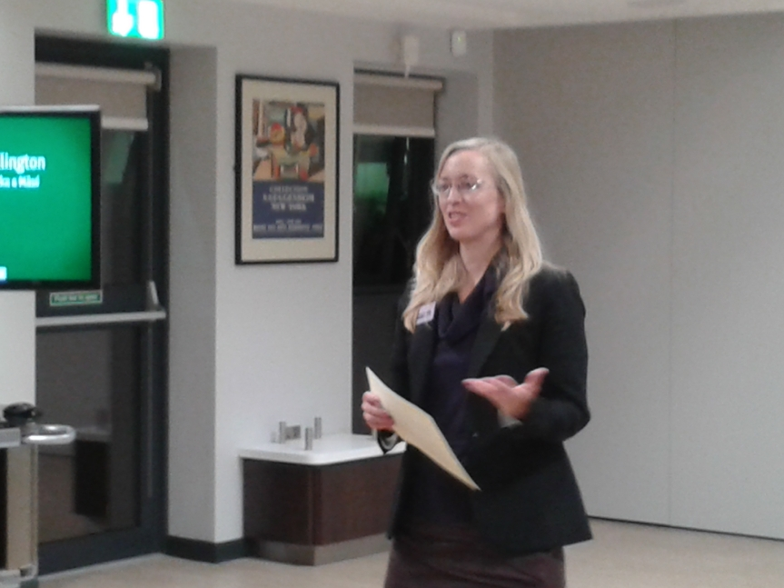 Laurel Plapp, commissioning editor at Peter Lang Oxford announcing the winner of inaugural WIGS Book Prize.