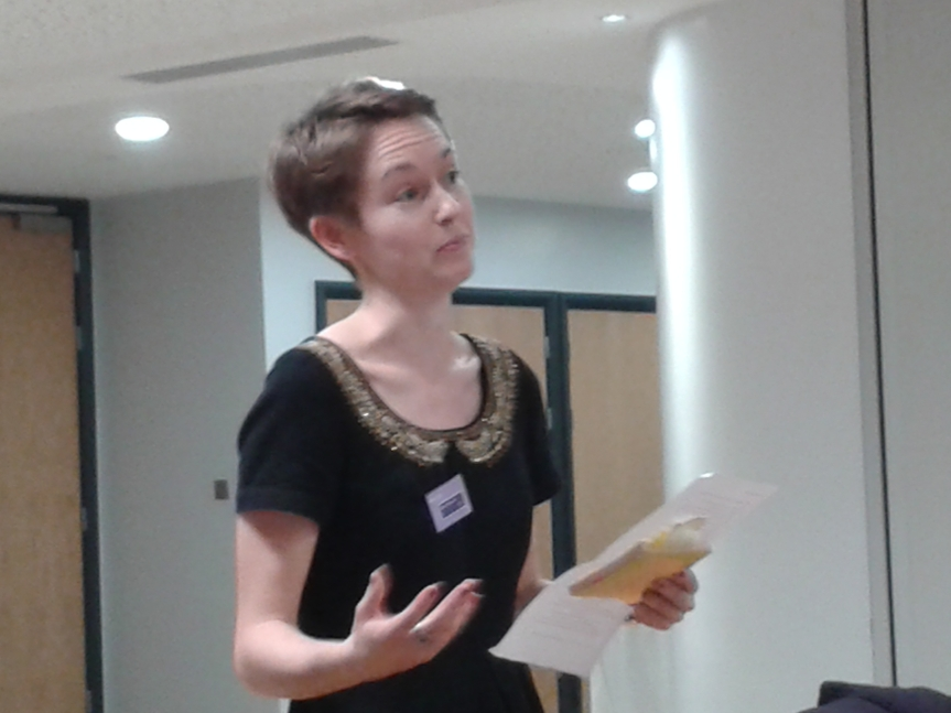 Ellen Pilsworth giving an overview of her winning essay on 'Literary Role-Play in the War Poetry of Anna Louisa Karsch'.
