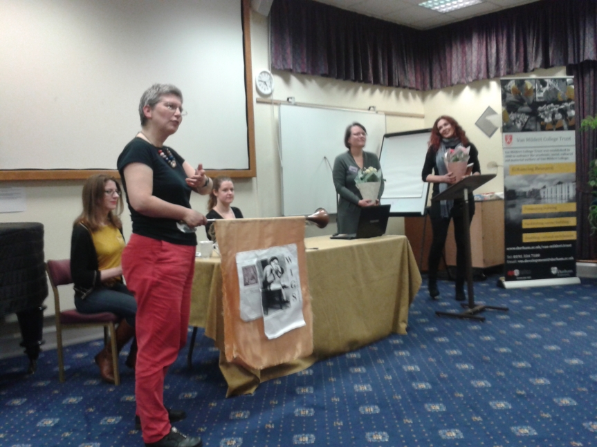 Conference organisers Marie Isabel Matthews-Schlinzig and Tracey Reimann-Dawe being thanked by committee and delegates.