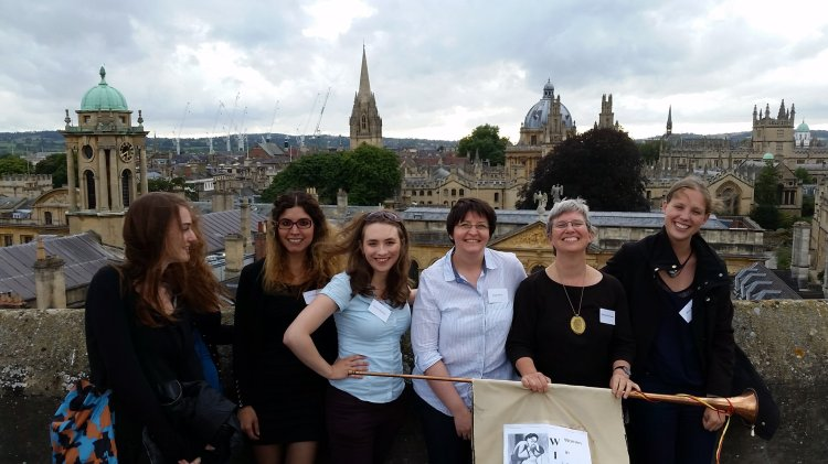 On the roof of St Edmund Hall library tower.