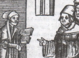 Woodcut for the pamphlet with Argula von Grumbach's letter to the Theology Faculty at Ingolstadt 1523